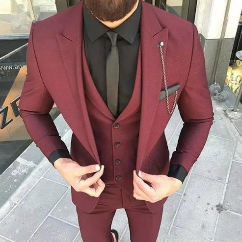 Custom Made Wine Red Slim Fit Wedding Mens Suit Prom Suits 3Pieces Jacket Pant Vest Groom Tuxedos Men Suit