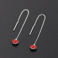 2017 New 100 925 Sterling Silver Red Heart Long Chain Earrings Delicate Ear Thread For Women