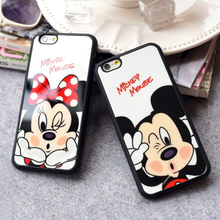 Cartoon Minnie Mickey Mouse Phone Case for iphone 7 6 6s Plus Rubber Silicone Mirror Cover for iphone 6 6s 5s SE Lovers Cases