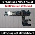 Motherboard telefone original oficial para samsung note 4 n910f 32 gb desbloqueado com chips imei sistema operacional inteiro mainboard uso em todo o mundo
