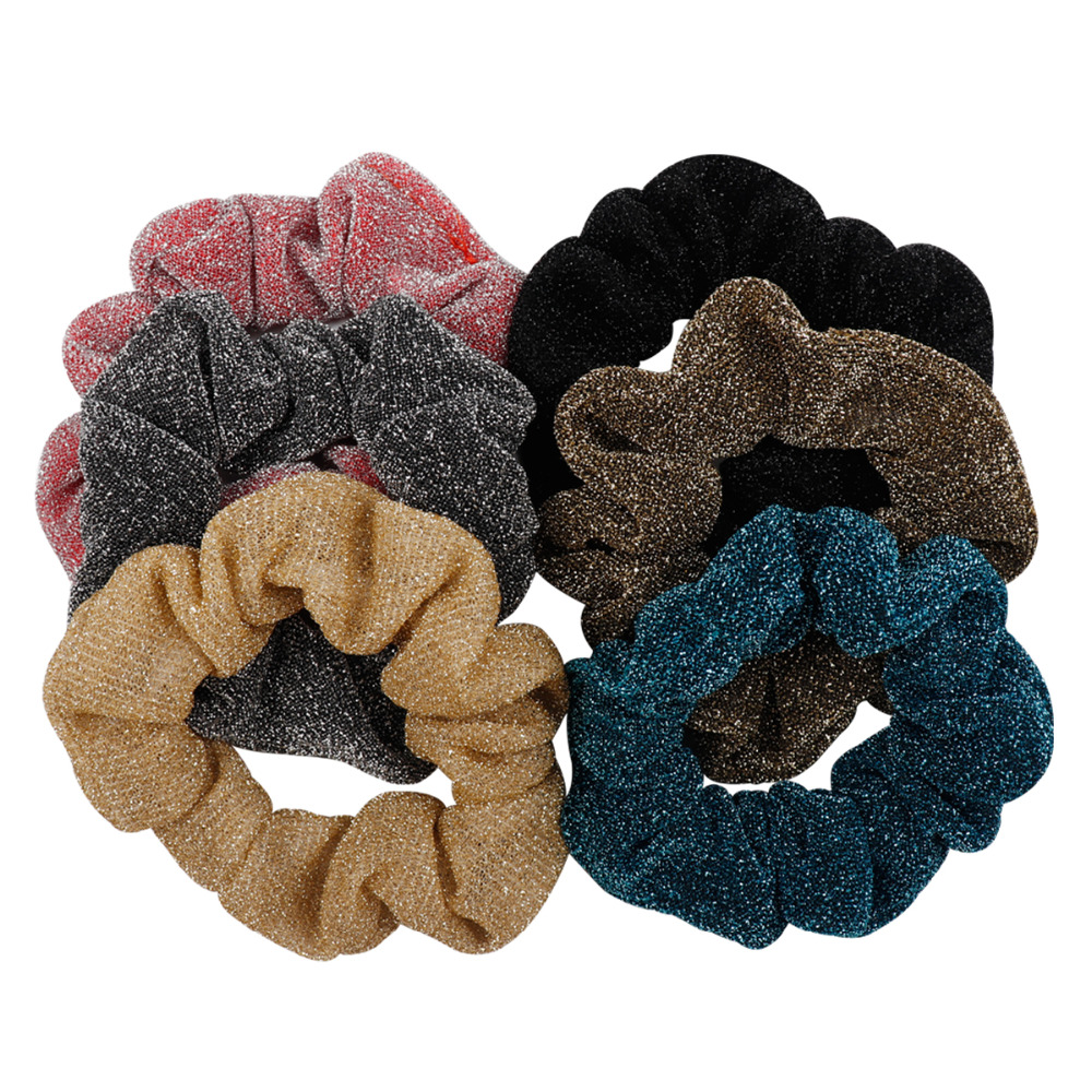 Hair Accessories Glitter Scrunchies Women  Gum For Hair Rubber Band Shining Light Gold Gray Metalic Ponytail Holder Hairbands