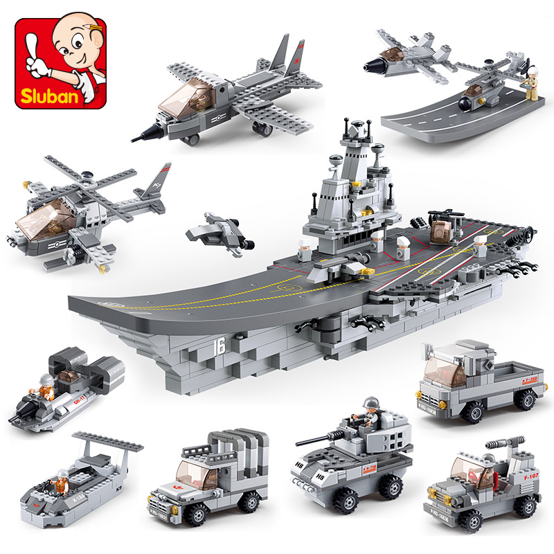 Sluban 1001Pcs Aircraft Cruiser 9 in 1 Warship Model Building Blocks Educational DIY Bricks 3D Construction Toys for Children sluban 883pcs military series army navy warship model building blocks cruiser plane carrier bricks gift toys for children