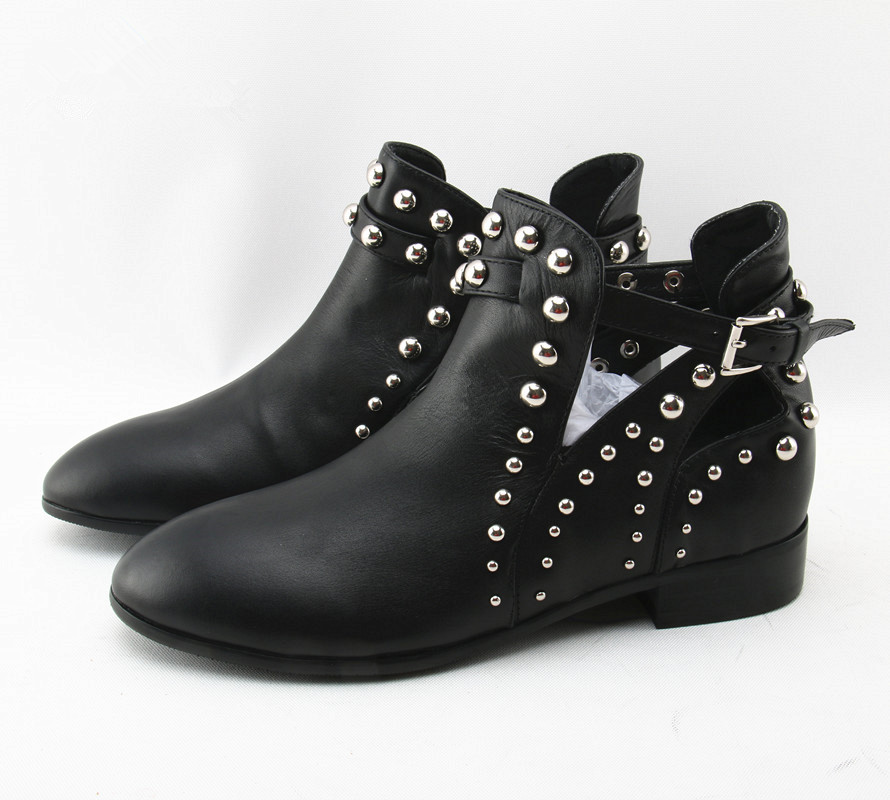 Punk Style Leather Ankle Boots Women Pointed Toe Motorcycle Boots Bead Rivet Low Heels Black Buckle Strap Short Boots women martin boots 2017 autumn winter punk style shoes female genuine leather rivet retro black buckle motorcycle ankle booties