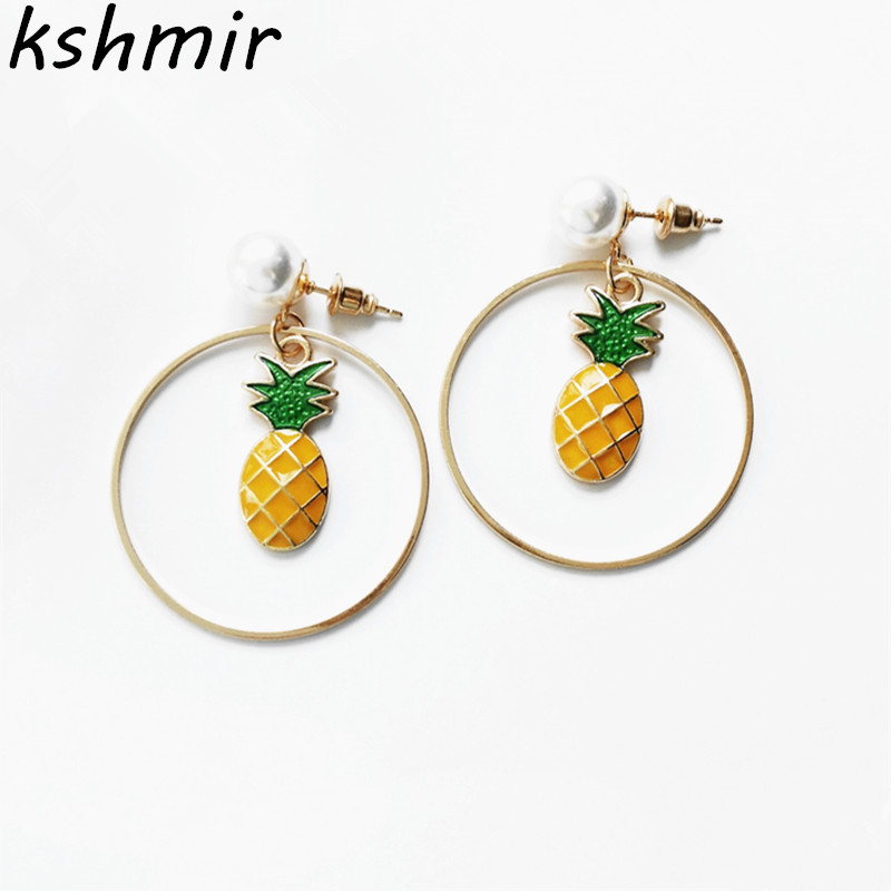 2018 sweet pineapple elegant pearl long delicate stud earrings Wholesale fruit earrings earrings female students in Stud Earrings from Jewelry Accessories