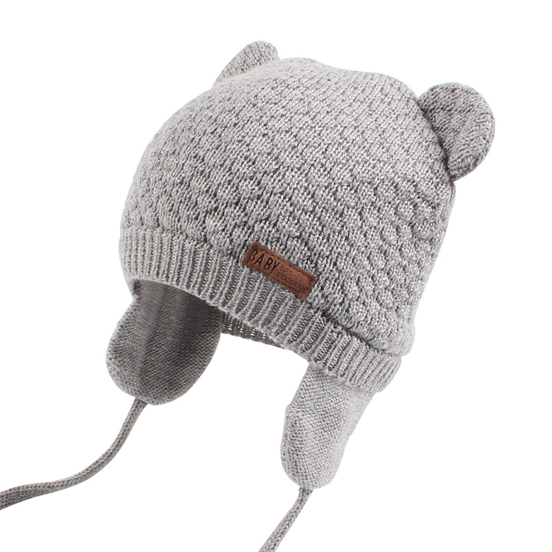 Bear Ears Cute Baby Hat Soft Cotton Newborn Baby Beanie Double Layer Warm Winter Hat For Baby Girls Boys Knitted Kids Hats New (16)