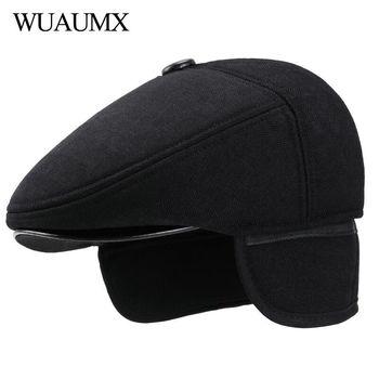 Wuaumx invierno boinas sombreros para hombres con orejeras de lana grueso  boina padre sombreros oído protección sombrero plano visor Cap negro c63c6cf1660