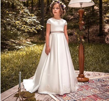 New Arrival Flower Girl Dress Princess For Wedding Pageant Gowns Lace Satin Girls White First Communion Dress Size 2-16Y dollbling bridal flower girl wedding dress lace green satin christening princess ivory dress first date girl dress