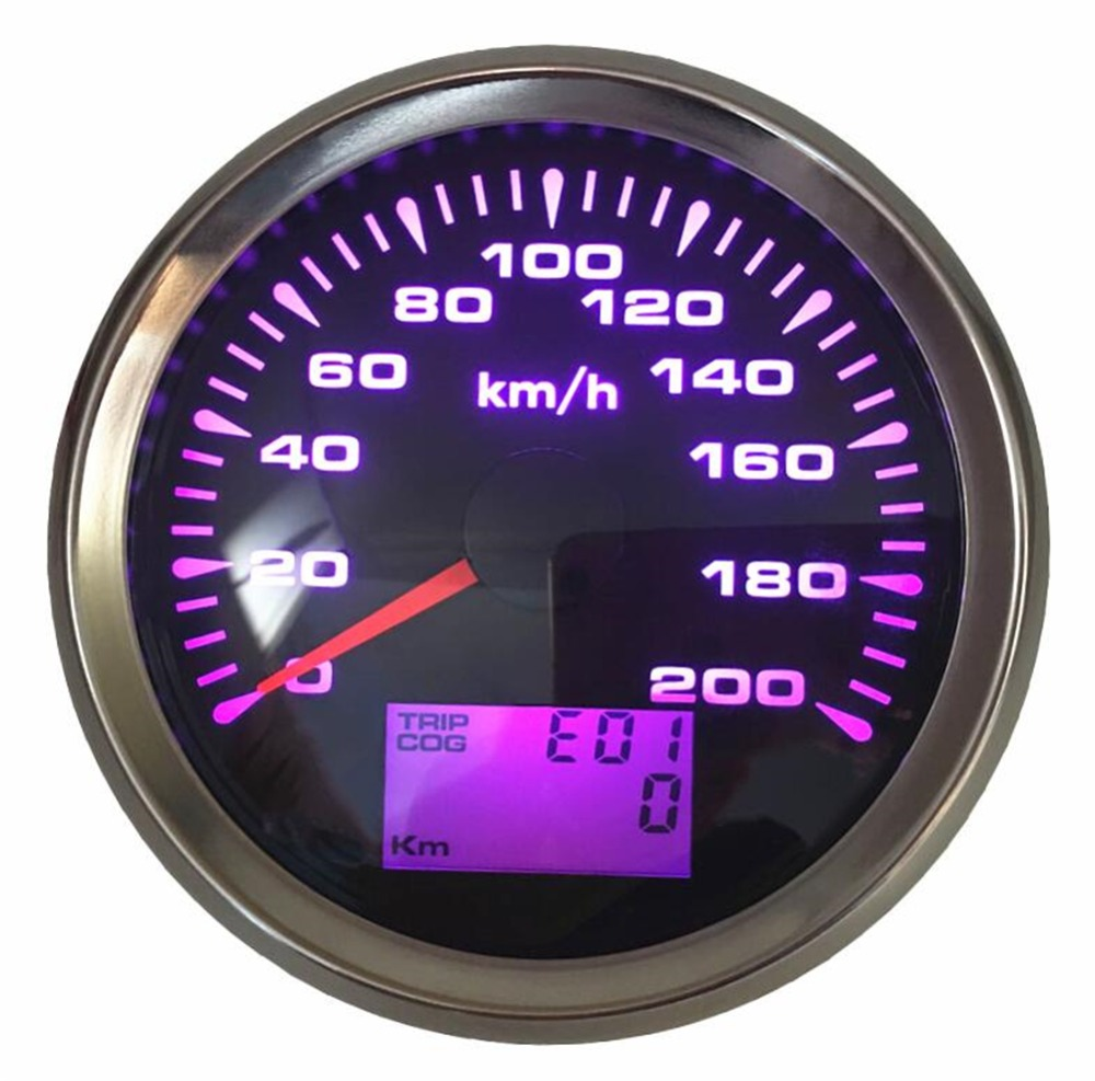 Free Shipping 1pc 0 200km h GPS Speed Odometers Tuning Trip Gauges Cog Waterproof 85mm GPS
