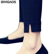 BIVIGAOS Summer Women's Woven Pencil Pants Ankle Split Skinny Slim Leggings Nine Pants Pantalon Femme Trousers Women Clothing