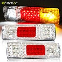 Castaleca В 12 В 24 в 1 пара 19 светодио дный LED s ATV прицеп грузовик светодио дный светодиодный задний фонарь заднего хода ходовые тормоза поворотные огни белый красный