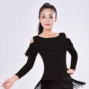 Image 4 - 新2019ラテンモダンダンススーツ女性/女の子セクシーな縞ロング社交/タンゴ/ルンバ/ラテンドレス衣類ダンサー