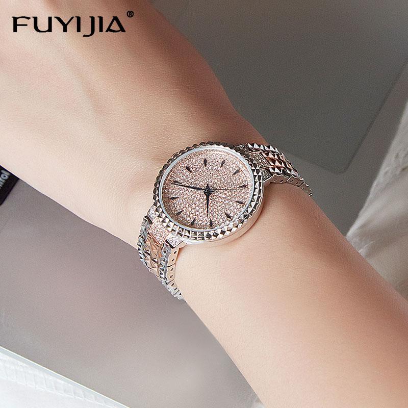 Chaude exquise femme montre de mode Quartz montres femme pleine diamant montre dame de luxe marque robe Table étanche en acier horloge