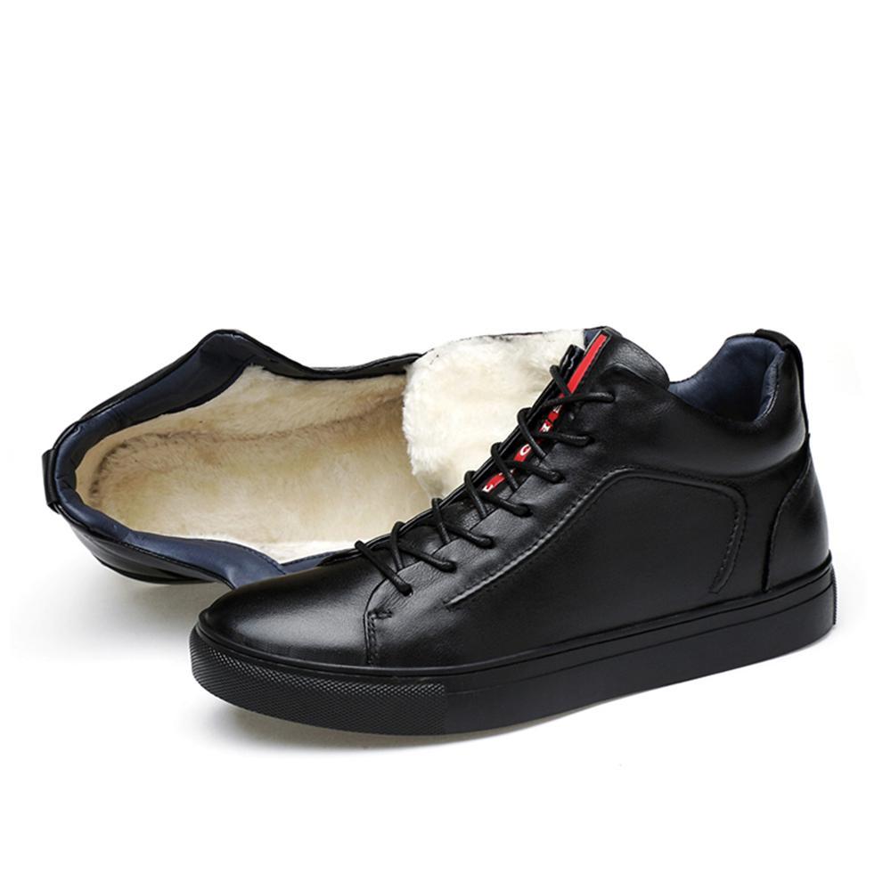 2018 Genuine Leather Men Shoes Casual Shoes Brand Winter Boots Men Winter Shoes Flats Sneaker Plush Spring Autumn Big Size 36-48 mulinsen latest lifestyle 2017 autumn winter men
