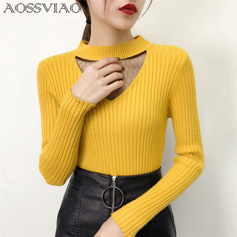 Lace Korean Sweaters For Women Basic High Elastic Knitted Sweater Woman Sexy Turtleneck Pullovers Long Sleeve Slim Pull Femme