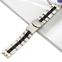 20MM Solid Stainless Steel Watch Bands For Swatch Metal Watch Bracelets Men Watch Straps Silvery Middle Black Accessories