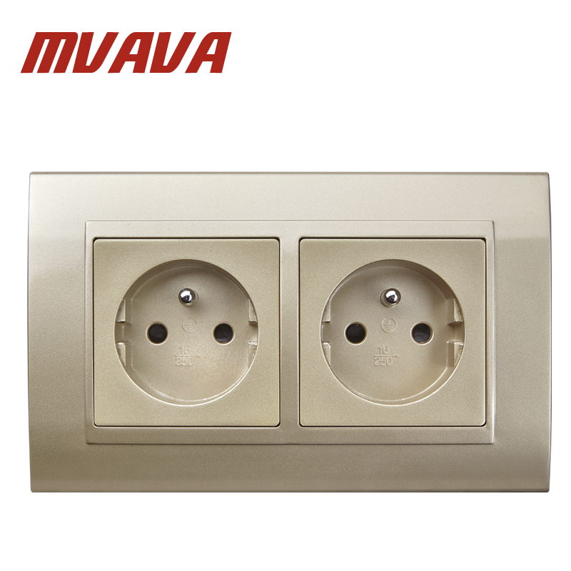 MVAVA Double 16A French Socket PC Champagne Glass 146 * 86mm Double EU French Standard Outlet FR Wall Socket Free Shipping universal three inserted multifunctional tabletop french socket with rj45 black silver free shipping
