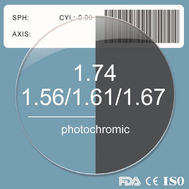 1,56 1,61 1,67 1,74 Photochrome Grau Objektiv Rezept Myopie Presbyopie Asphärische Harz