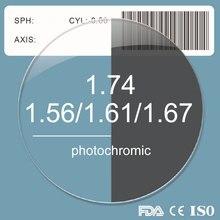 1.56 1.61 1.67 1.74 Resina Asférica Photochromic Grey Lens Prescrição Miopia Presbiopia