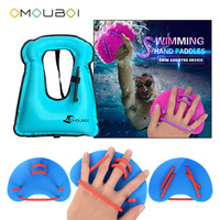 OMOUBOI Blue Plastic Swim Hand Fins Training Hand Webbed Gloves With Inflatable Life Security Floatage Vest For Adult Unisex
