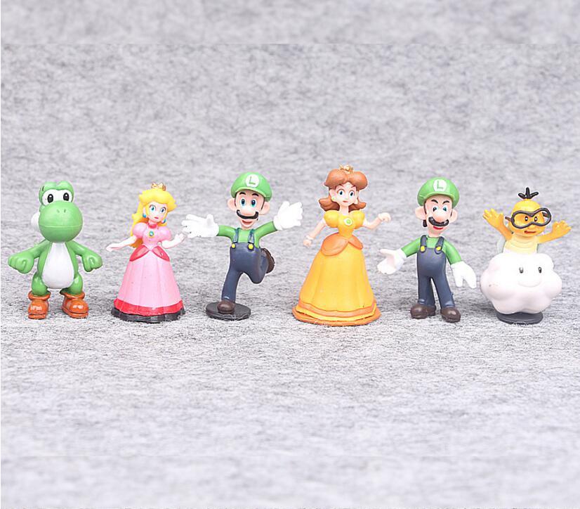 18 шт./компл. 3-7 см аниме Рисунок Super Mario Bros PVC Фигурки игрушки Nendoroid yoshi Персик Принцесса Odyssey donkey Kong модель