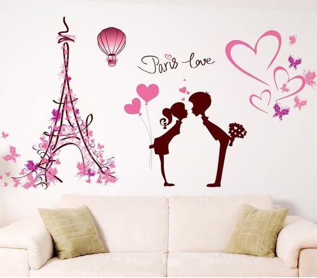 Liefde in parijs muurstickers home decor slaapkamer diy art mural ...