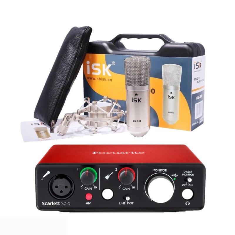 ISK BM 800 Microphone and Focusrite Scarlett Solo 2nd gen 2 input 2 output USB audio