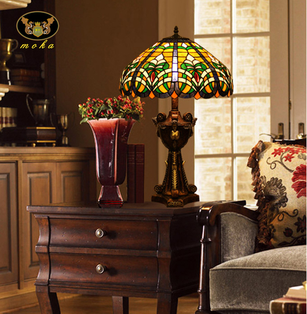 Tiffany Table Lamp Living Room Study Retro Colored Glass Coffee Bar, Club  House Church Classical