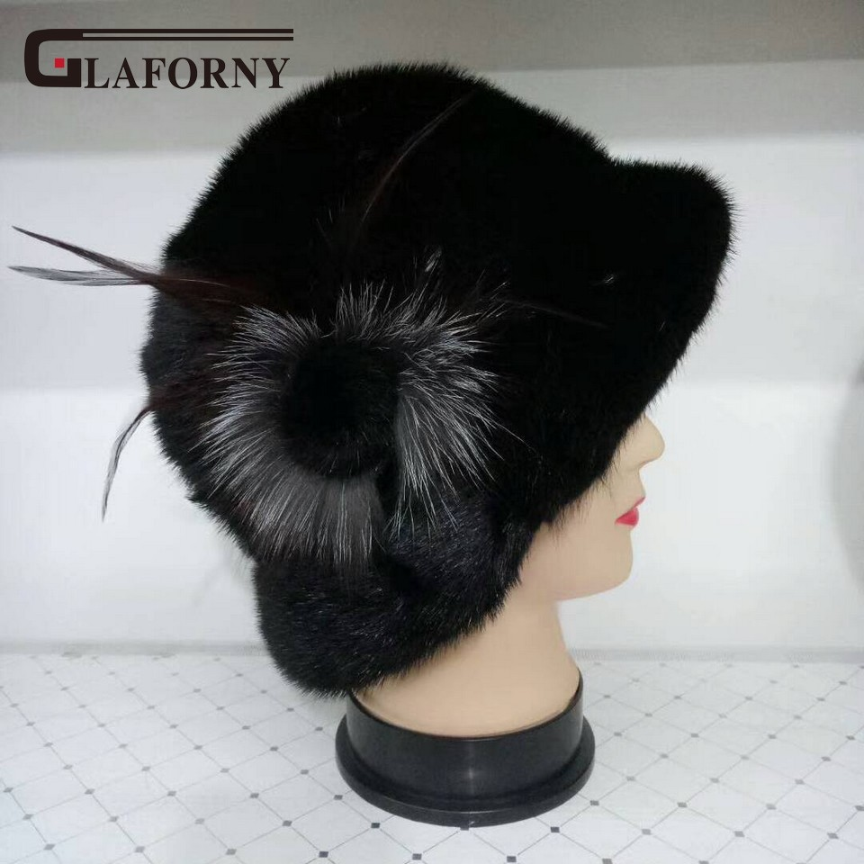 Glaforny 2017 Whole Mink Fur Hats Women Winter Fur Caps with Fur Flower Female Genuine Mink Fur Caps Beanies Russian Winter hm015 real genuine mink fur hat winter hats for women whole piece mink fur hats