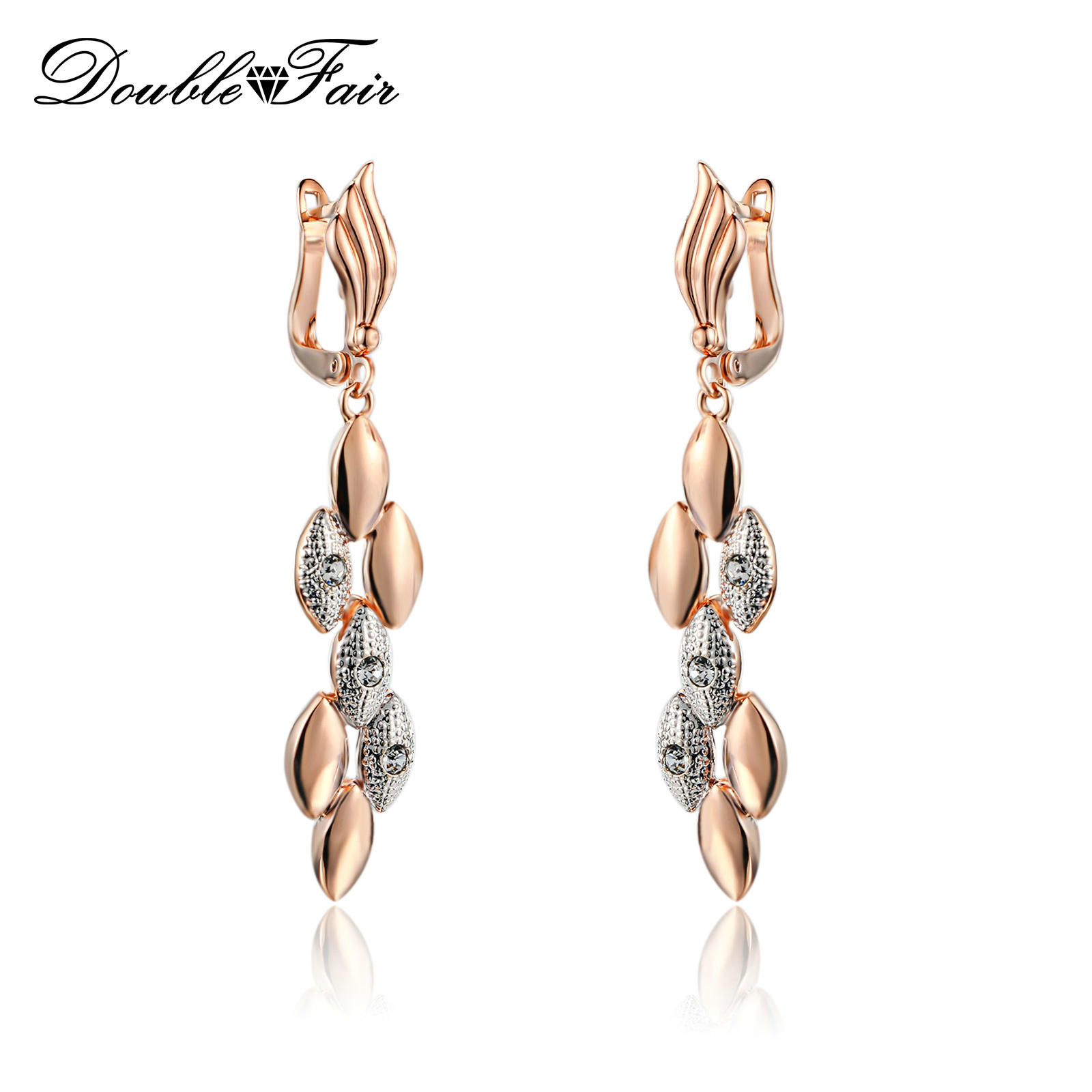 Cubic Zirconia Drop/Dangle Earrings Rose Gold Color Crystal CZ Stone Fashion Brand Retro Jewelry For Women Brincos DFE095