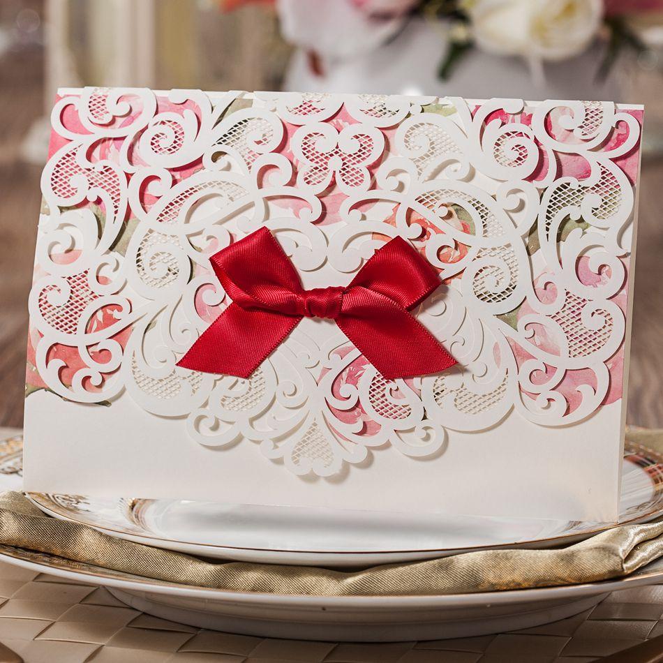 2015 New Luxury Elegant Laser Cut Floral Wedding Invitation Cards ...