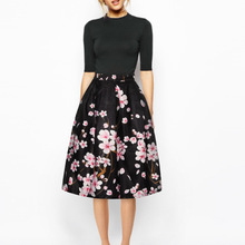 4e1c27cc0d38 2018 3D Print Floral Women Skirt Mid Calf Black Skirt Ball Gown Knee-Length  Pink