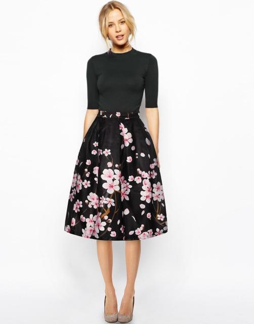 2018 3D Print Floral Women Skirt Mid Calf Black Skirt Ball Gown Knee-Length  Pink Flower Skirts for Women New Arrival 423f8e23829f