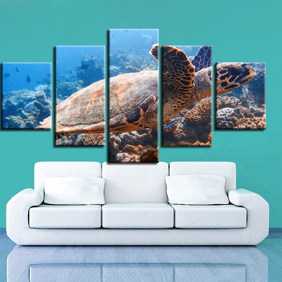 Modern Pictures Modular Poster Canvas 5 Pieces Sea Bed Turtles Landscape Painting Framework Decor Living Room Wall HD Prints Art