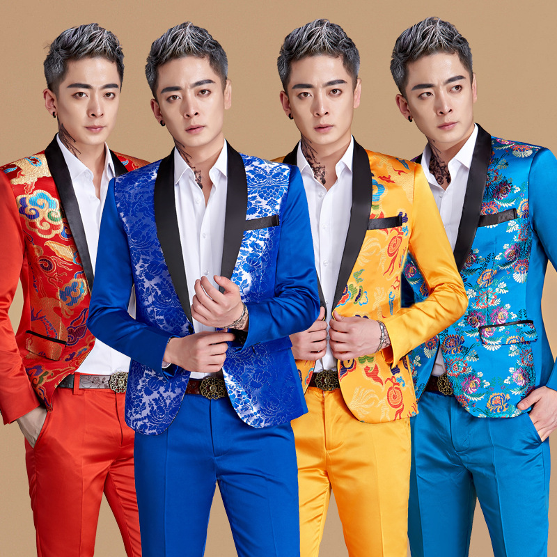 2018 new mens print color suits studio host ceremonial mens blue collar suit two stage p ...