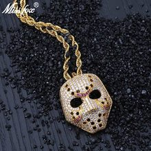 MISSFOX Hip Hop Purple V Shape Vintage Retro Hollow Ninja Mask 24K Gold Plated AAA Cubic Zirconia Luxury Long Necklaces Pendants(China)