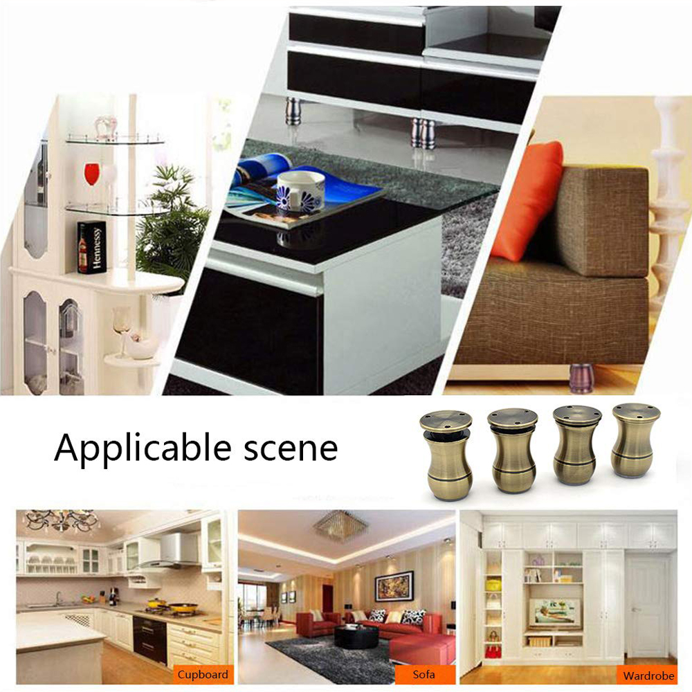 80MM Adjustable Aluminum Furniture Legs Cabinets Tables Chairs Sofa Feet With Non-Slip Rubber Base Brushed Bronze Set Of 4