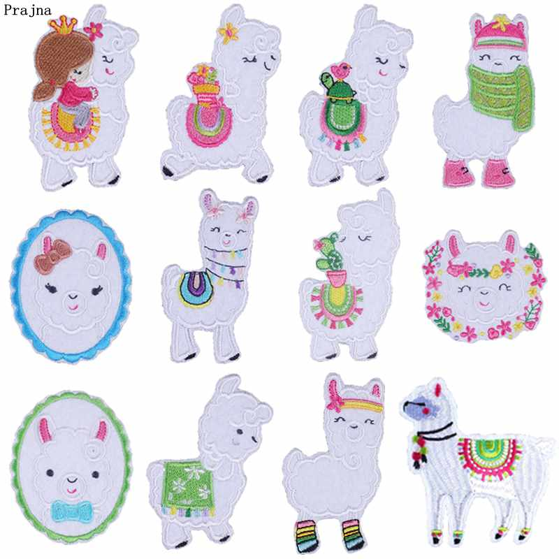 Prajna Cartoon Llama Animals Patches Embroidery Iron On For Clothing DIY Cute Stickers Clothes T-shirts Jeans Decor