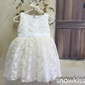 White/ivory flower lace communion baptism dress for baby girls beautiful infant princess christening gowns with bonnet for kids
