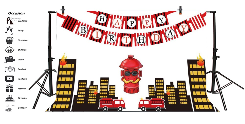 Laeacco Cartoon Buildings Fire Hydrant Baby Birthday Photography Backgrounds Customized Photographic Backdrops For Photo Studio