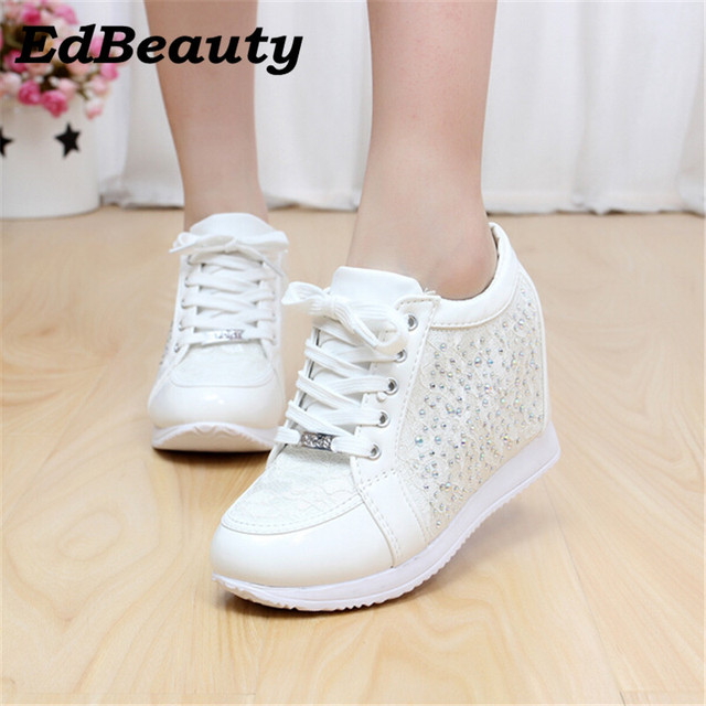 02c31f689427 Hot Sales New 2017 Autumn Black White Hidden Wedge Heels Casual Shoes  Women s Elevator High-heels boots For Women Rhinestone