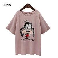 MISSFEBPLUM Women Tops Summer 2017 Plus Size Cotton T Shirt Kawaii Cute Cartoon Mickey Clothing For