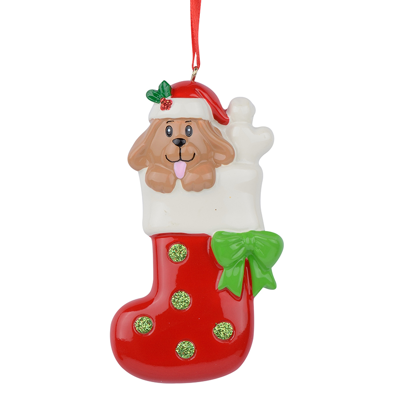 Resin Glossy Dog Stocking Personalized Christmas Ornaments ...