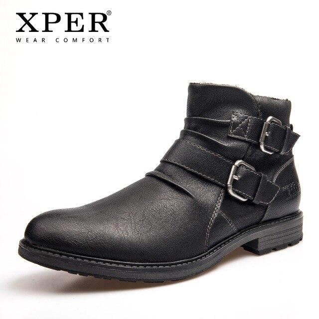 XPER/большие размеры 40-48, Брендовые ботильоны, мужские ботинки челси с пряжкой, непромокаемая черная зимняя обувь, модные мотоциклетные ботинки, XHY12501BL