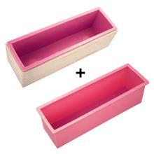 أسيبتس 3 قطعة مستطيل الصابون قالب مجموعة DIY بها بنفسك قالب نخب سيليكون صندوق وردي + صندوق خشبي أداة الخبز (1.2 كجم حجم الصابون) 30