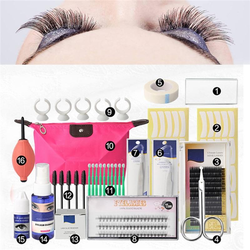 16 Pcs  False Eyelash Extension Tools Set Makeup Tools Kits Professional Individual Eye Lashes Grafting Tools Kit Set Bag