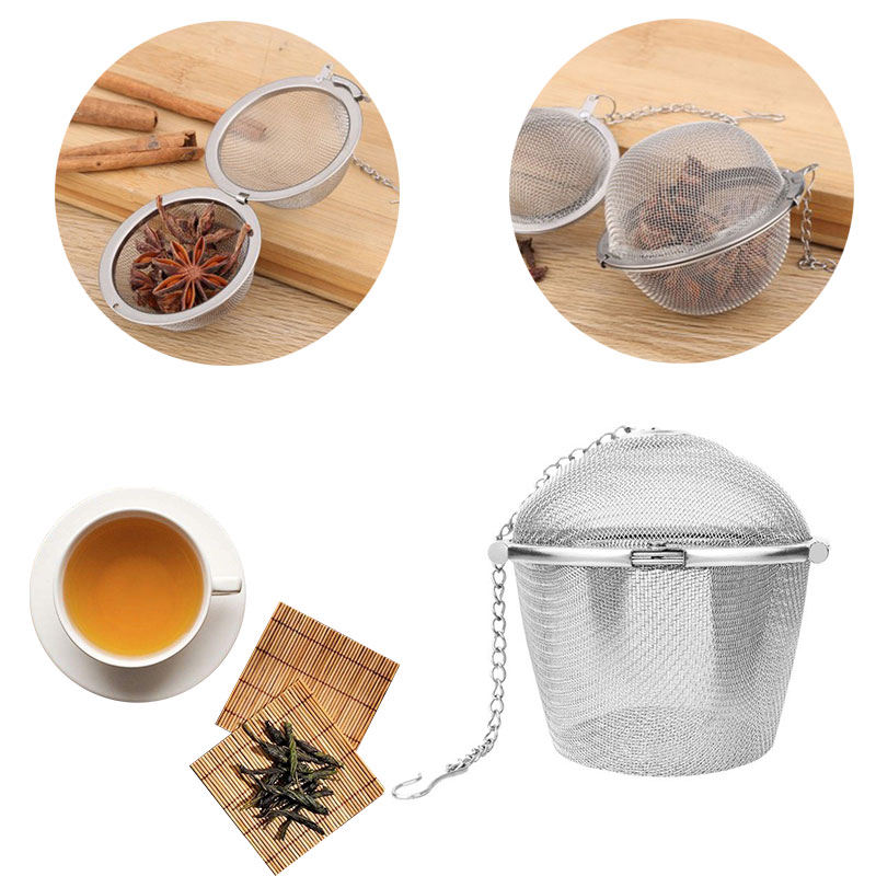 Durable Silver Reusable Stainless Mesh Herbal Ball Tea Spice Strainer Teakettle Locking Tea Filter Spice Tool Kitchen Accessory