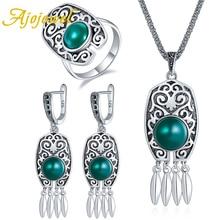 Ajojewel Vintage Carved Orange/Green Resin Round Shape Tassel Earrings Necklace Ring Size 7,8,9 For Women Bijoux Set Fine Gift