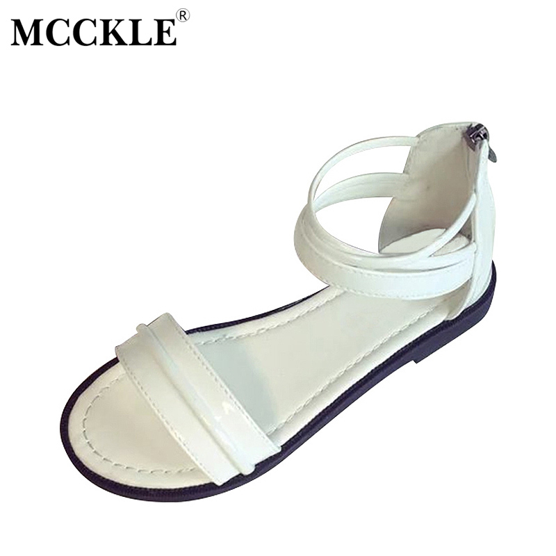 MCCKLE 2017 Women Summer Flat Sandals Female Casual Fashion Zipper Sandals Rome Open Toe Comfortable Ladies Black Woman Footwear mcckle 2017 fashion woman shoes flat women platform round toe lace up ladies office black casual comfortable spring