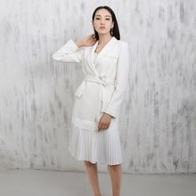 LANMREM 2020 New Fashion Notched Pleated Hemline White Personality Suit Type Dress Females Long Sleeve Clothes Vestido YE61500