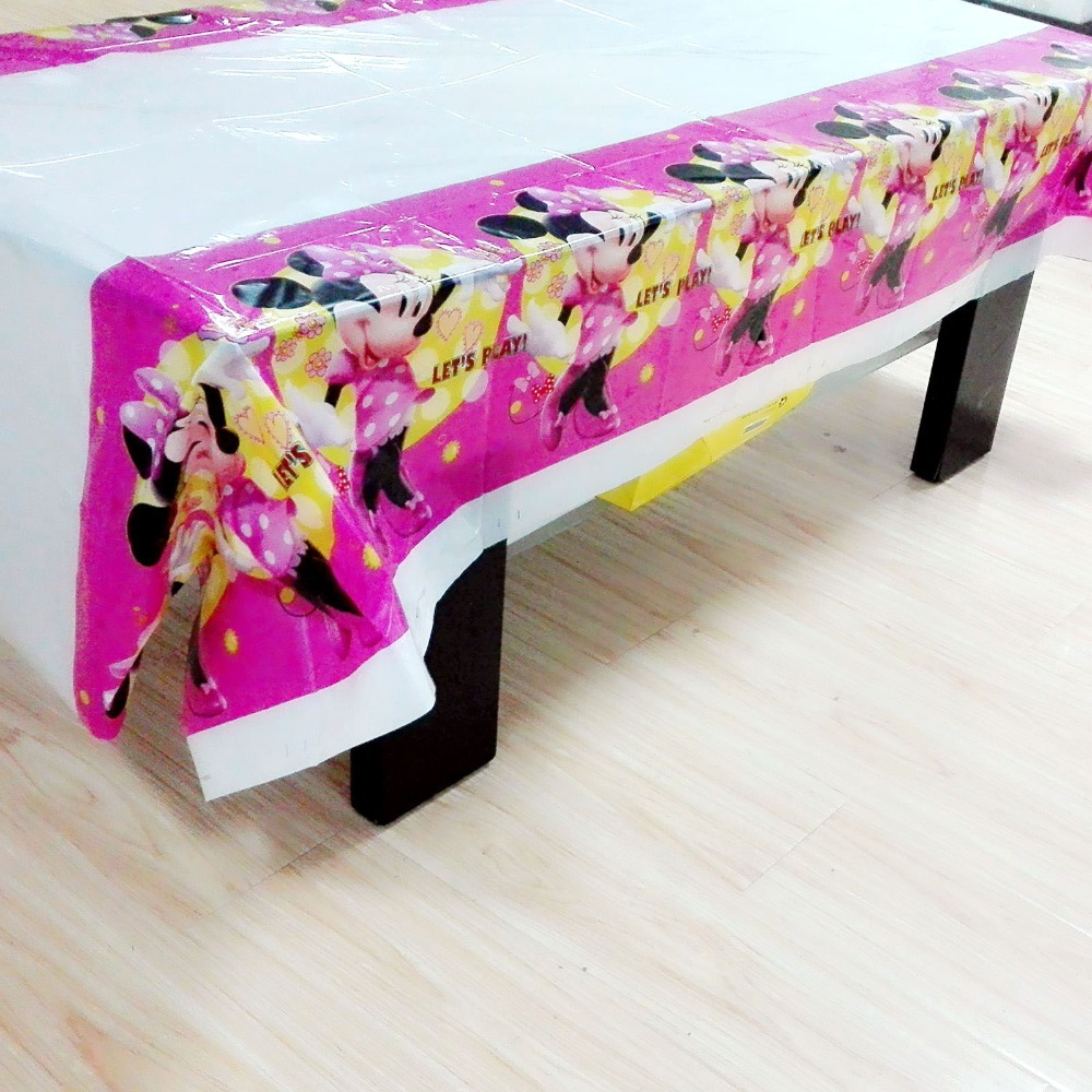 Minnie Mouse Party Supplies Tablecloth Happy Birthday Decoration Baby Shower Theme minnie mouse table cloth 108x180cm 1 in Disposable Party Tableware from Home Garden